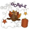 Gobble Thanksgiving Pumpkin & Turkey Stamps